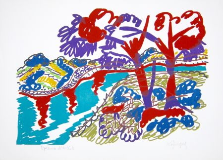 Lithographie Lapicque - Le Bois De Pins