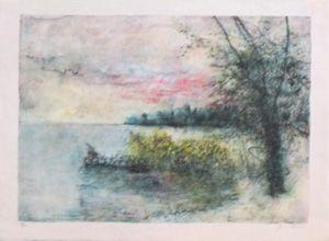 Lithographie Gantner - Le bord du lac