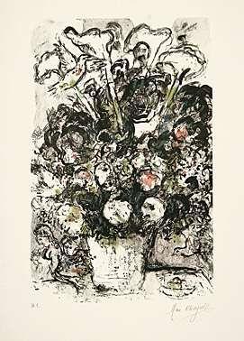 Lithographie Chagall - Le bouquet blanc
