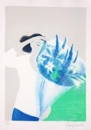Lithographie Brasilier - Le Bouquet Bleu