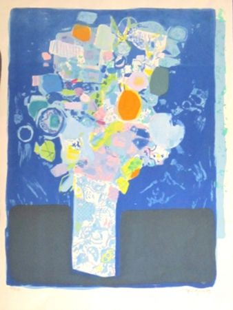 Lithographie Bezombes - Le bouquet de printemps