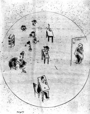Eau-Forte Chagall - Le Bureau Des Contrats