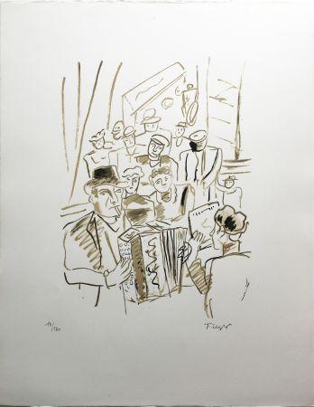 Lithographie Leger - LE CAFÉ ou L'ACCORDÉONISTE (La Ville, Paris 1959)