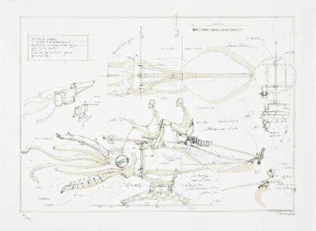 Lithographie Delarozière - Le calamar a retropropulsion