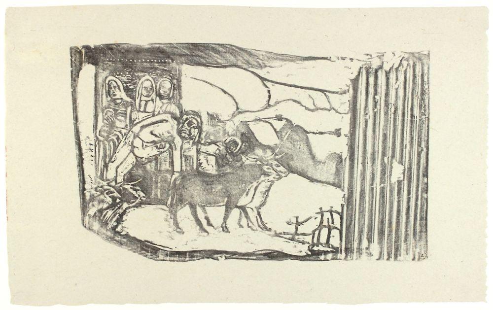 Gravure Sur Bois Gauguin - Le Calvaire Breton