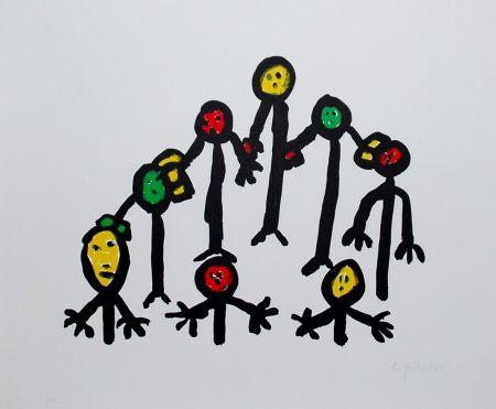 Lithographie Ionesco - Le cercle familial