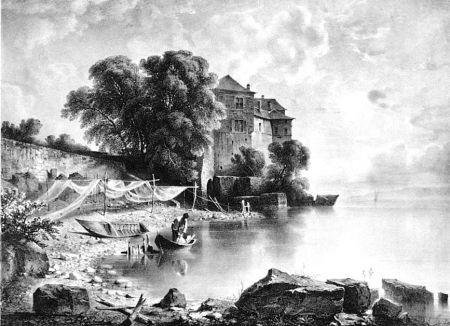 Lithographie Fontanesi - Le château de Glérolles (Lac de Genève)