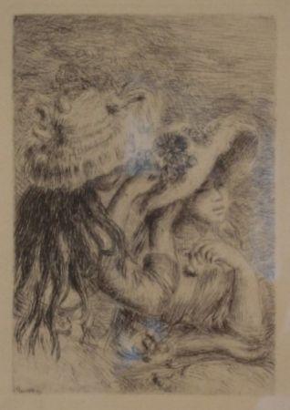 Gravure Renoir - Le Chapeau Épinglé. La Fille de Berthe Morisot et sa Cousine.