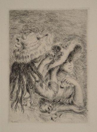 Gravure Renoir - Le Chapeau Épinglé. La Fille de Berthe Morisot et sa Cousine