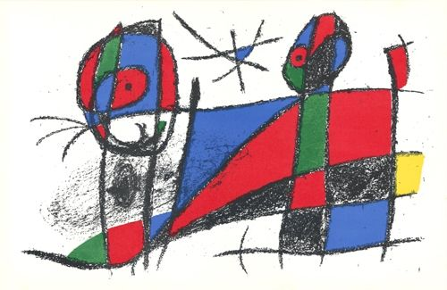 Lithographie Miró - Le chat heureux / The Happy Cat