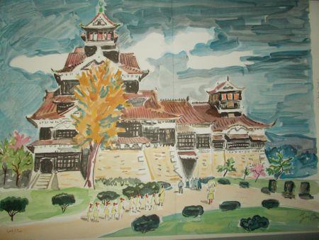 Lithographie Brayer - Le chateau de Kumamoto