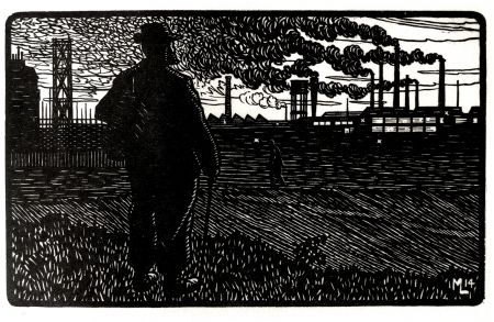 Gravure Moreau - LE CHEMINOT / THE RAILROADER - Gravure s/bois / Woodcut - 1912