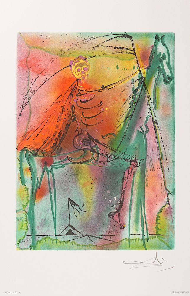 Lithographie Dali - Le Cheval de la Mort (Horse of Death)