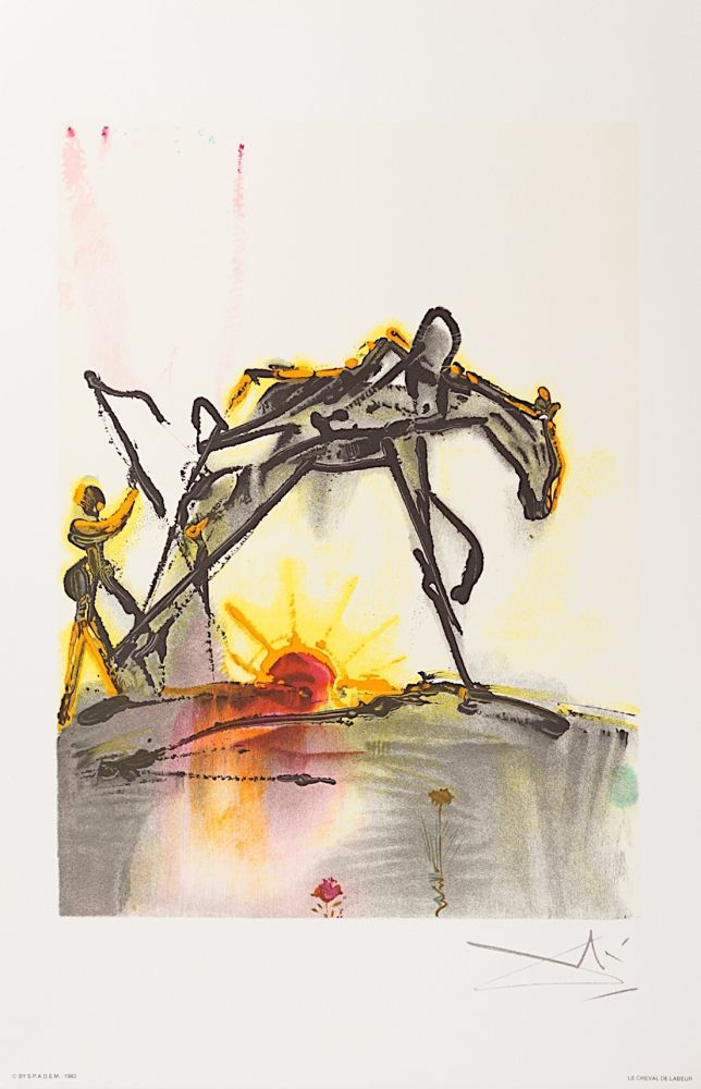 Lithographie Dali - Le Cheval de Labeur (The Horse of Labor)