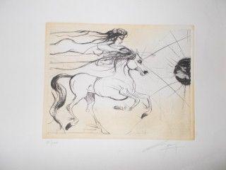 Lithographie Guiny - Le cheval et la femme