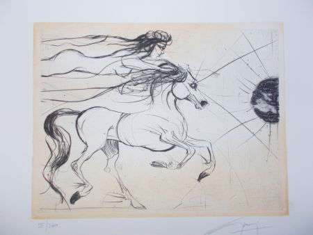 Gravure Guiny - Le cheval et la femme