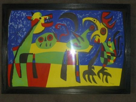 Lithographie Miró - Le chien aboyant à la lune
