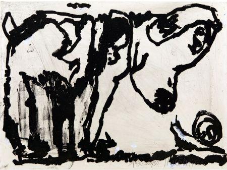 Aquatinte Pincemin - Le chien et l'escargot. Épreuve rehaussée à la gouache (1990)