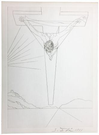 Pointe-Sèche Dali - Le Christ de Saint-Jean de la Croix (Pointe-sèche pour le Manifeste Mystique). 1951.