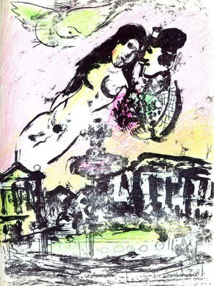 Lithographie Chagall - Le Ciel de la Place de la Concorde M. 393