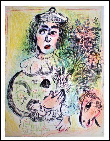 Lithographie Chagall - LE CLOWN FLEURI