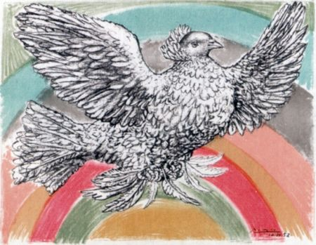 Lithographie Picasso - Le Colomb Volant  - The Flying Dove With A Rainbow