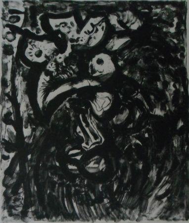 Lithographie Pignon - Le coq