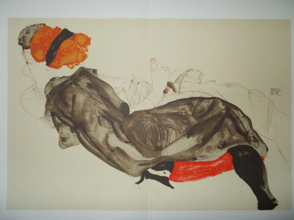 Lithographie Schiele - Le couple