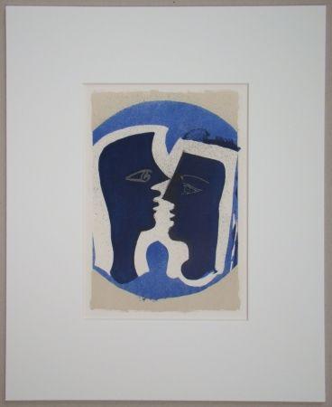Lithographie Braque - Le Couple - Lettera Amorosa