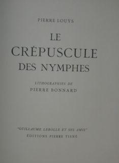 Livre Illustré Bonnard - LE CREPUSCULE DES NYMPHES
