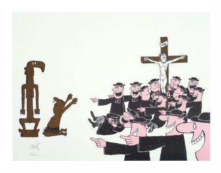 Lithographie Siné - Le curé et l'animiste