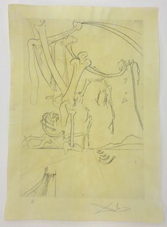 Eau-Forte Dali - Le désert avec sa piste d'orfereis ambonnees et d'ossements