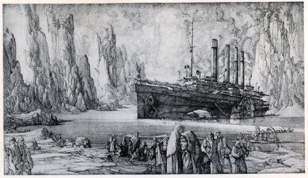 Gravure Desmazières - Le Debarquement