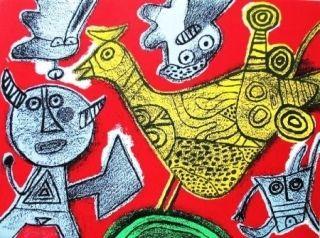 Lithographie Corneille - Le diable et l'oiseau