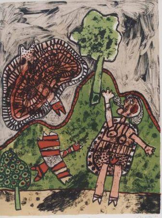 Lithographie Corneille - Le dialogue avec l'arbre