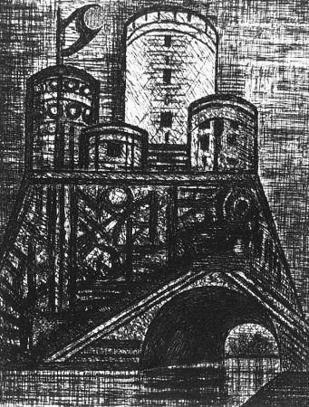 Eau-Forte Gromaire - Le Donjon du Dunsinane