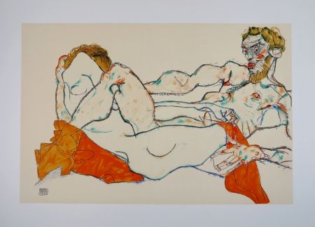 Lithographie Schiele - LE DRAP ROUGE / THE RED SHEET - 1913