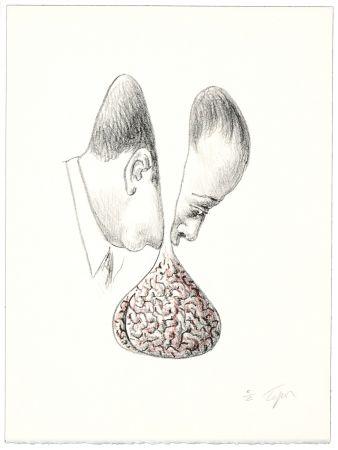 Lithographie Topor - Le fond du discours