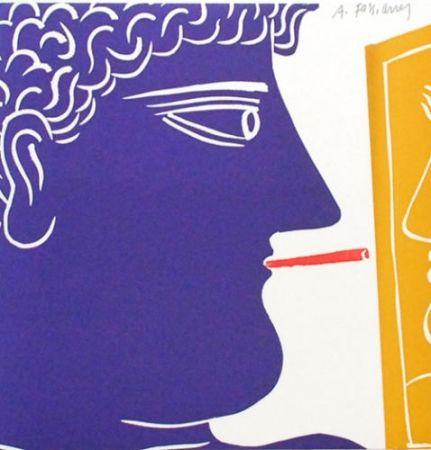Lithographie Fassianos - Le fumeur