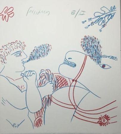 Lithographie Fassianos - Le fumeur de cigarettes et le cheval