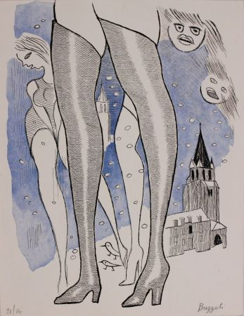 Eau-Forte Et Aquatinte Buzzati - Le gambe di Saint Germain