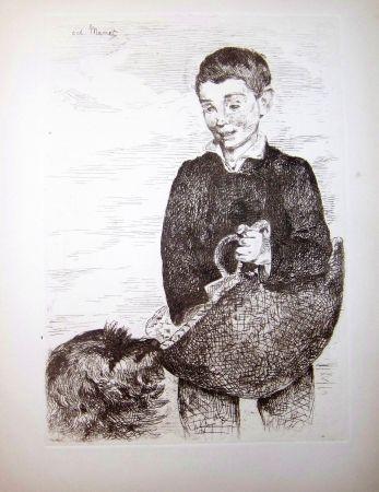 Eau-Forte Manet - Le gamin au chien