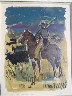 Lithographie Brayer - Le gardian de taureaux
