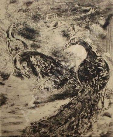 Eau-Forte Et Aquatinte Chagall - Le Geai Pare des Plumes du Paon
