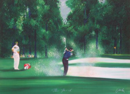 Lithographie Spahn - Le golfeur