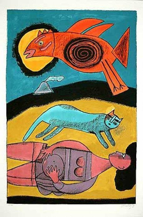 Lithographie Corneille - Le grand oiseau du désert