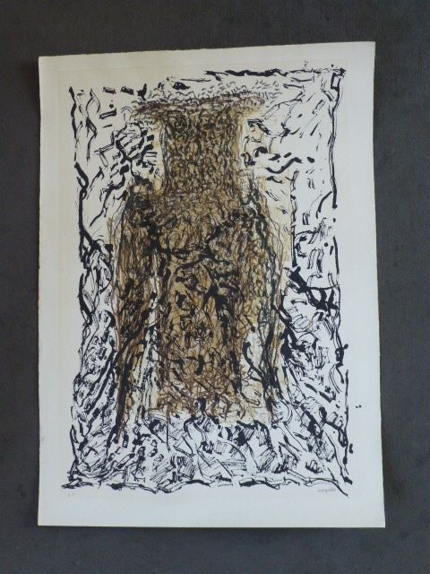 Lithographie Riopelle - Le hibou VII
