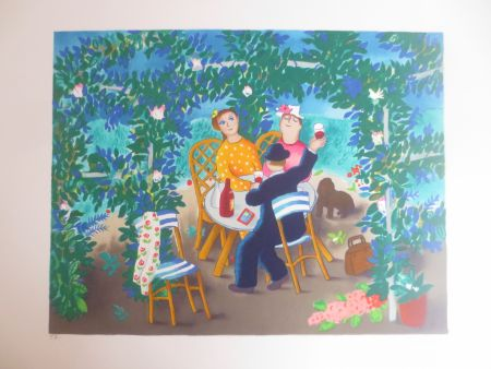 Lithographie Jirlow - Le jardin