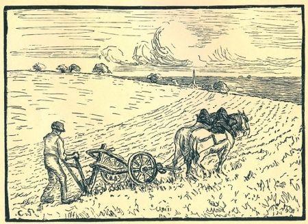 Gravure Pissarro - Le laboureur