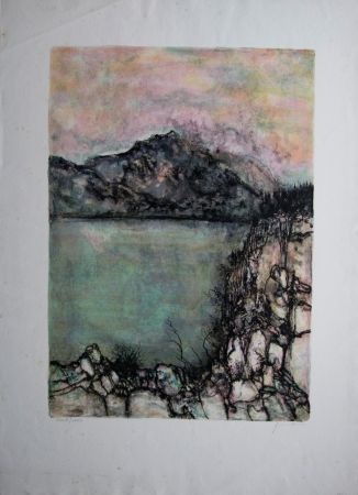 Lithographie Gantner - Le lac sauvage